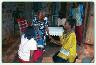 Diocese staff visit elderly widow